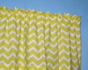LINED HANDMADE Yellow  White chevron zigzag striped Window Curtain VALANCE
