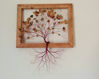 Wire art tree with wooden leaves in wooden frame-wood sculpture- home decor-birthday gift-wall decoration