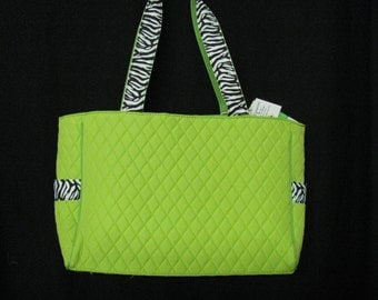 Quilted Diaper Bag with Changing Pad and Pouch