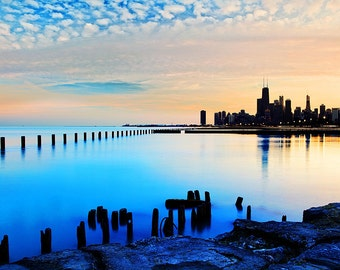 Chicago Photography, Chicago Skyline, Lake Michigan Photography, Chicago Lake Michigan, Chicago Cityscape, Chicago Sunset Photo Print