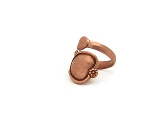Vintage Rose Gold Brass Spoon Ring, 1pc