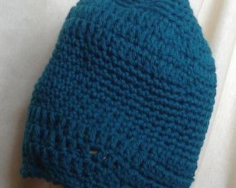 Handmade Crocheted Teal Hat