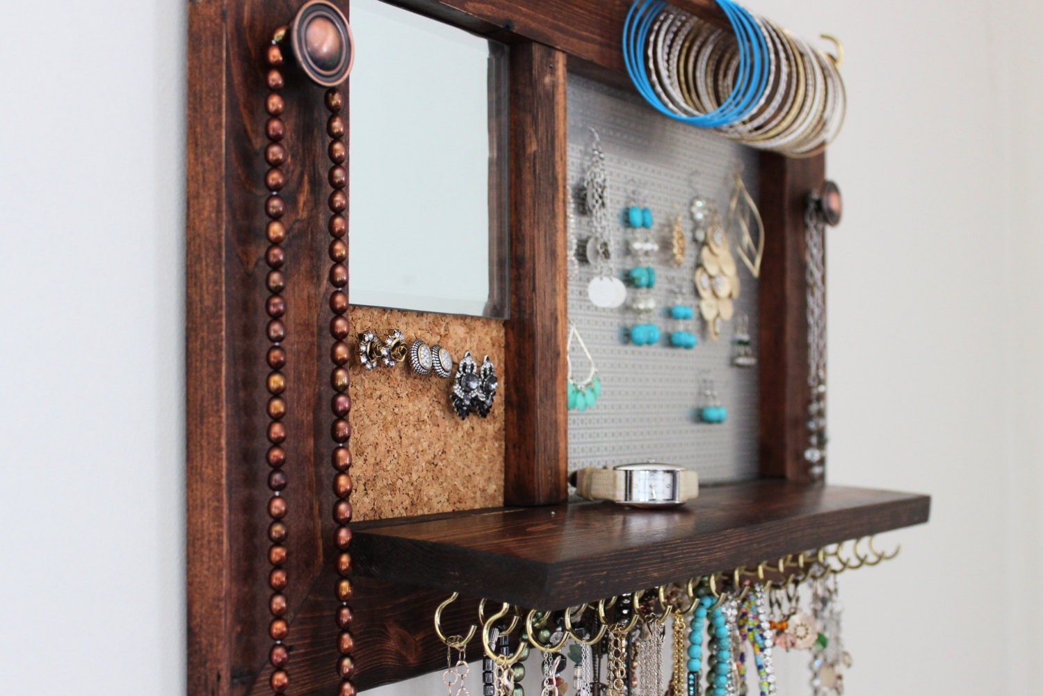 Items similar to Jewelry Organizer - Wooden Wall Hanging ... |Wooden Wall Jewelry Organizer