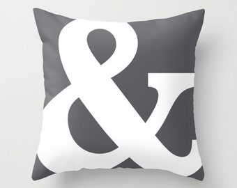 Ampersand Pillow Cover - Typography Throw Pillow - Modern Home Decor - Charcoal Grey - By Aldari Home