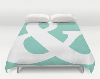 Ampersand Duvet Cover - Queen Size Duvet Cover - King Size Duvet Cover - Mint Green - Typography Symbol - Modern