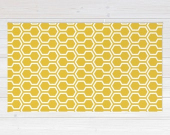 Honeycomb Pattern Area Rug - Mustard Yellow Rug Geometric Area Rug - Mid Century Modern Home Decor - By Aldari Home