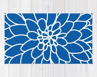 Modern Dahlia Flower Rug Area Rug - Blue Modern Flower Rug - Abstract Flower Area Rug - Home Decor