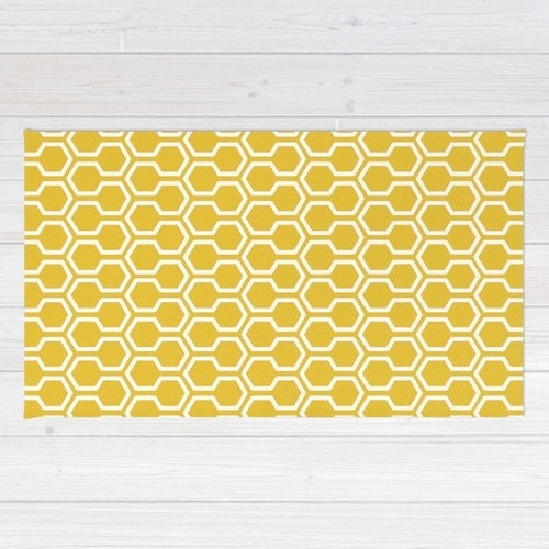 Honeycomb Pattern Area Rug Mustard Yellow Rug Geometric Area