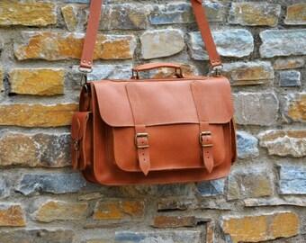 Leather Messenger Bag - 15 inch Laptop Bag - Tobacco Leather Briefcase - Laptop Bag - Shoulder Bag