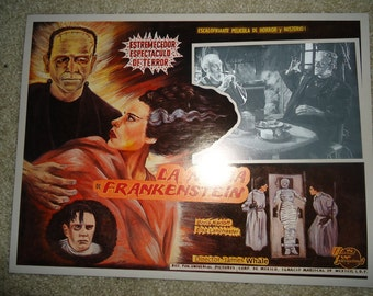 Bride Of Frankenstein Mexican Lobby Card Movie Poster 1980 Reprint. Boris Karloff, Elsa Lanchaster