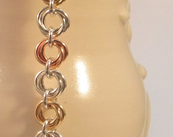 BTFL8 - Tri-Colour Chainmaille Bracelet - mix metal bracelet - mobius bracelet - mix metal flower bracelet - gift for her