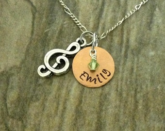 Hand Stamped Personalized Necklace with Mini Birthstone, Music, Music Note, Treble Clef