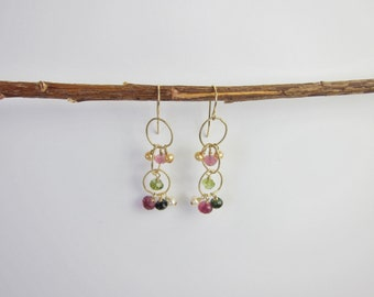 Tourmaline, Pearl 14K Gold Handmade Earrings