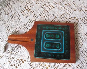 Vintage Teak Bread Cutting Board Inlay Ceramic Tile Funky Danish Modern style