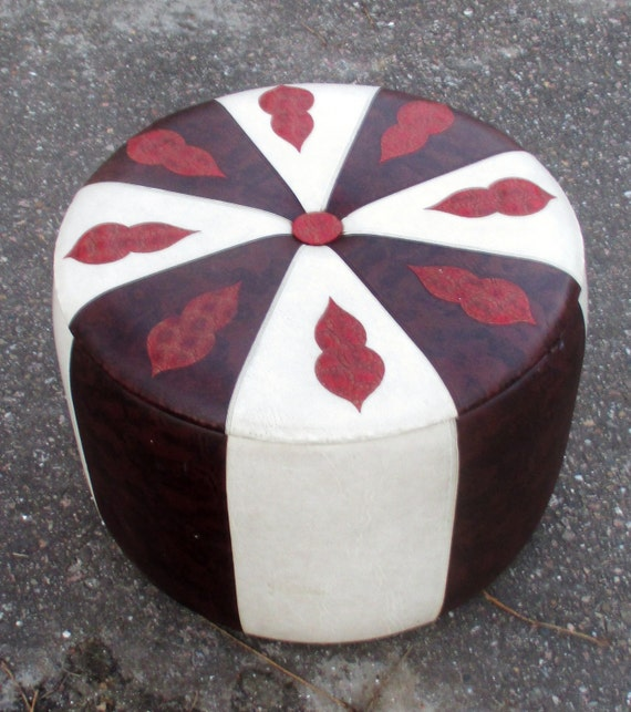 Vintage brown white red pouf stool hassock ottoman footstool for Small storage hassocks
