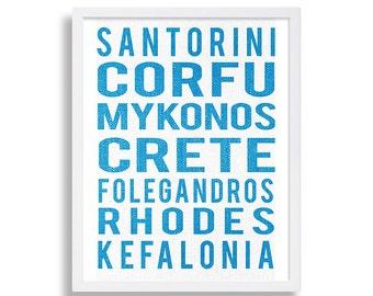 Greek Islands Art Print Travel Art Destination Roll Sign Print Modern Art Blue and White Decor Home Decor Santorini Art Rhodes Wall Art