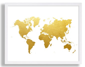 World Map Print Faux Gold Art Print Modern Decor Globe Poster Minimalist Art Shiny Gold Foil Art Wall Hanging Interior Design Home Staging