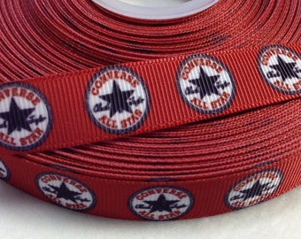 "4 Yards of 5/8"" Red Converse All Star Grosgrain Ribbon"