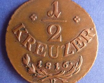 Old Austrian Half Kreuzer Coin Dated 1816. An Original Very Lightly Circulated Coin In Super Condition