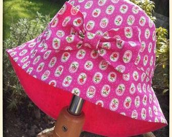 Girls Baby Cotton Sun Summer Holiday Hat - Legionaire Style  - Pink Flowers