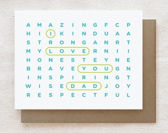 Father's Day Card, Dad Birthday Card - I Love You Dad Wordsearch