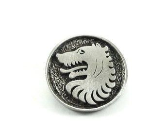 Wolf Metal Buttons 24mm Antique Silver Medieval Style Qty 3
