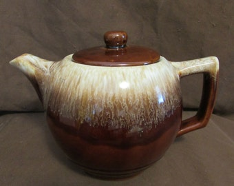 McCoy Teapot With Lid #140, USA, Brown Drip Glaze, Vintage, 1960's or 1970's
