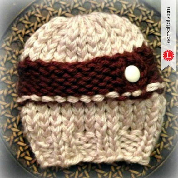 Loom Knit Cable Stitch Hat : Loom Knit Newborn Cable Hat