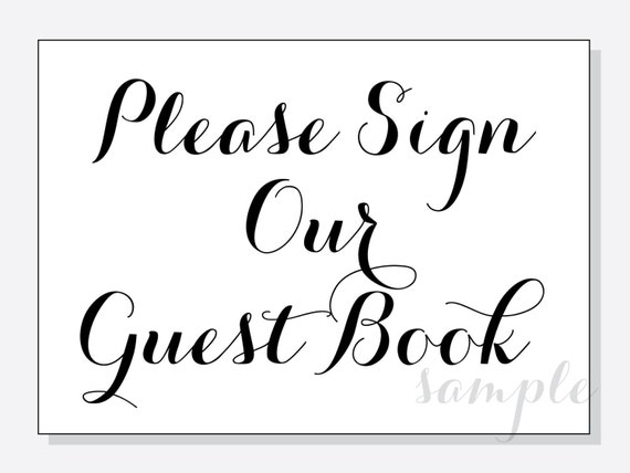 diy please sign our guest book wedding table sign 5x7 and. Black Bedroom Furniture Sets. Home Design Ideas