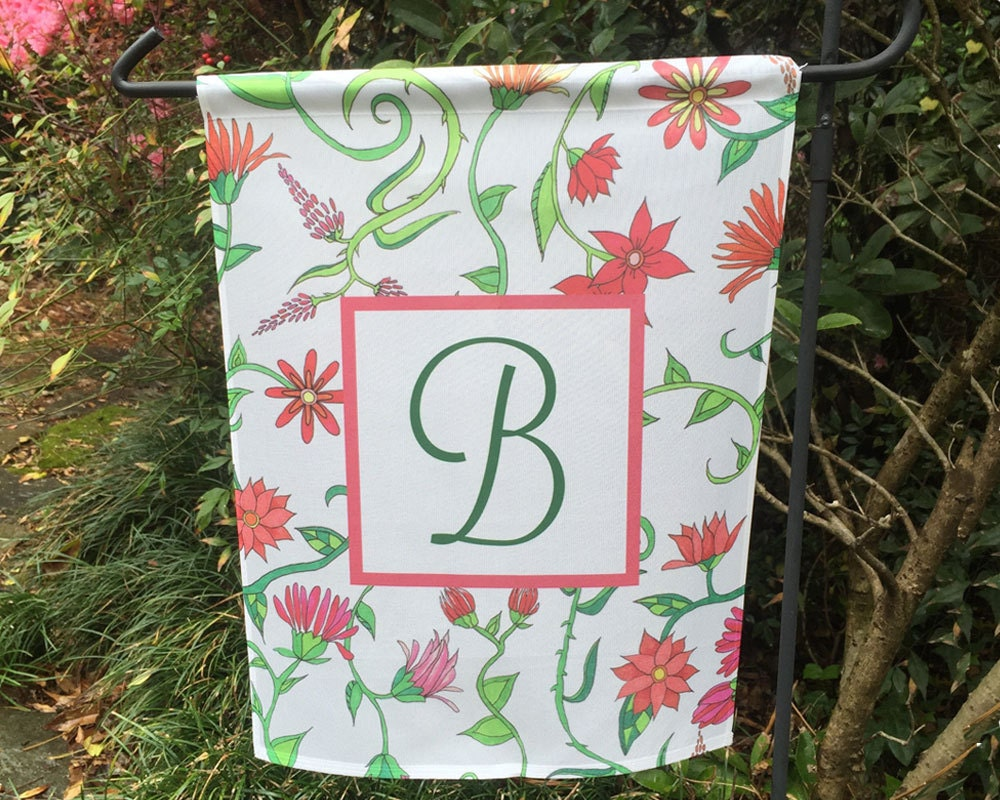 Garden Flag Personalized Garden Decor With Initial