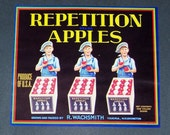 Original Vintage Repetition Brand Apple Crate Label Yakima Washington 1940s Great Kitchen Art. Looks Great Framed....