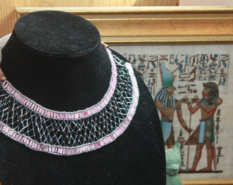 Contemporary Pink and Grey Egyptian Beaded Collar Necklace