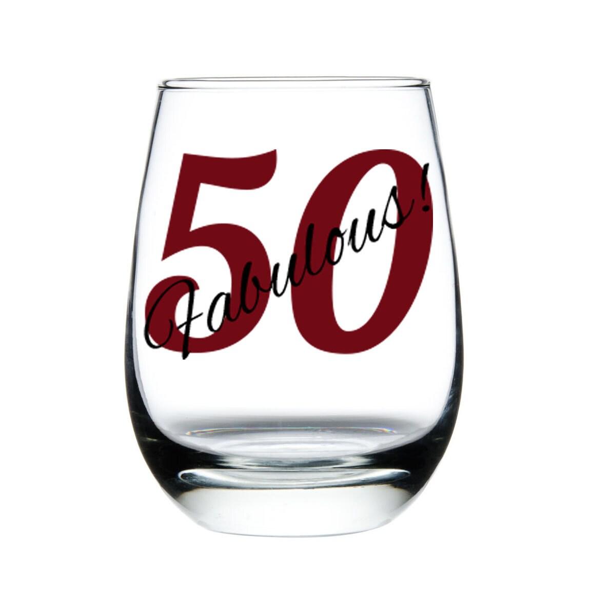 Fabulous 50 Wine Glass50th Birthday Wine Glass By Madoliveshop