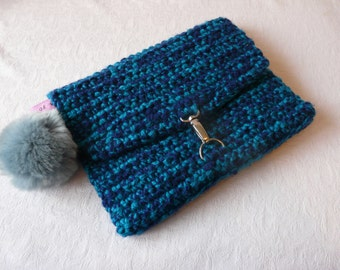 Petrol and Navy Over Sized Crochet Clutch Bag