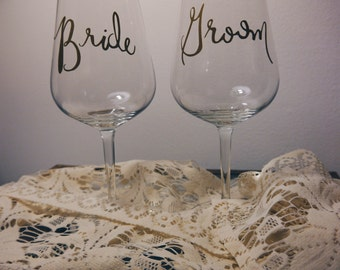 Bride and Groom Wine Glasses- Hand Drawn Type for Shabby Chic DIY Weddings
