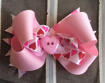 Pink Heart and Stripes Valentine's Day Bow