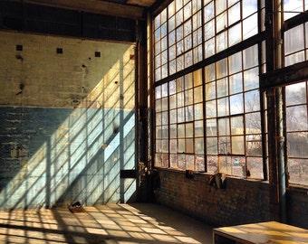 Warm Dust - Original Fine Art Photograph - Warehouse Windows Sunshine
