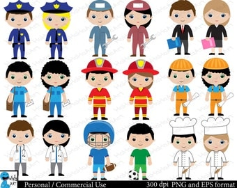 Professions Set Clipart - Digital Clip Art Graphics Personal Commercial Use - 18 PNG images (00121)