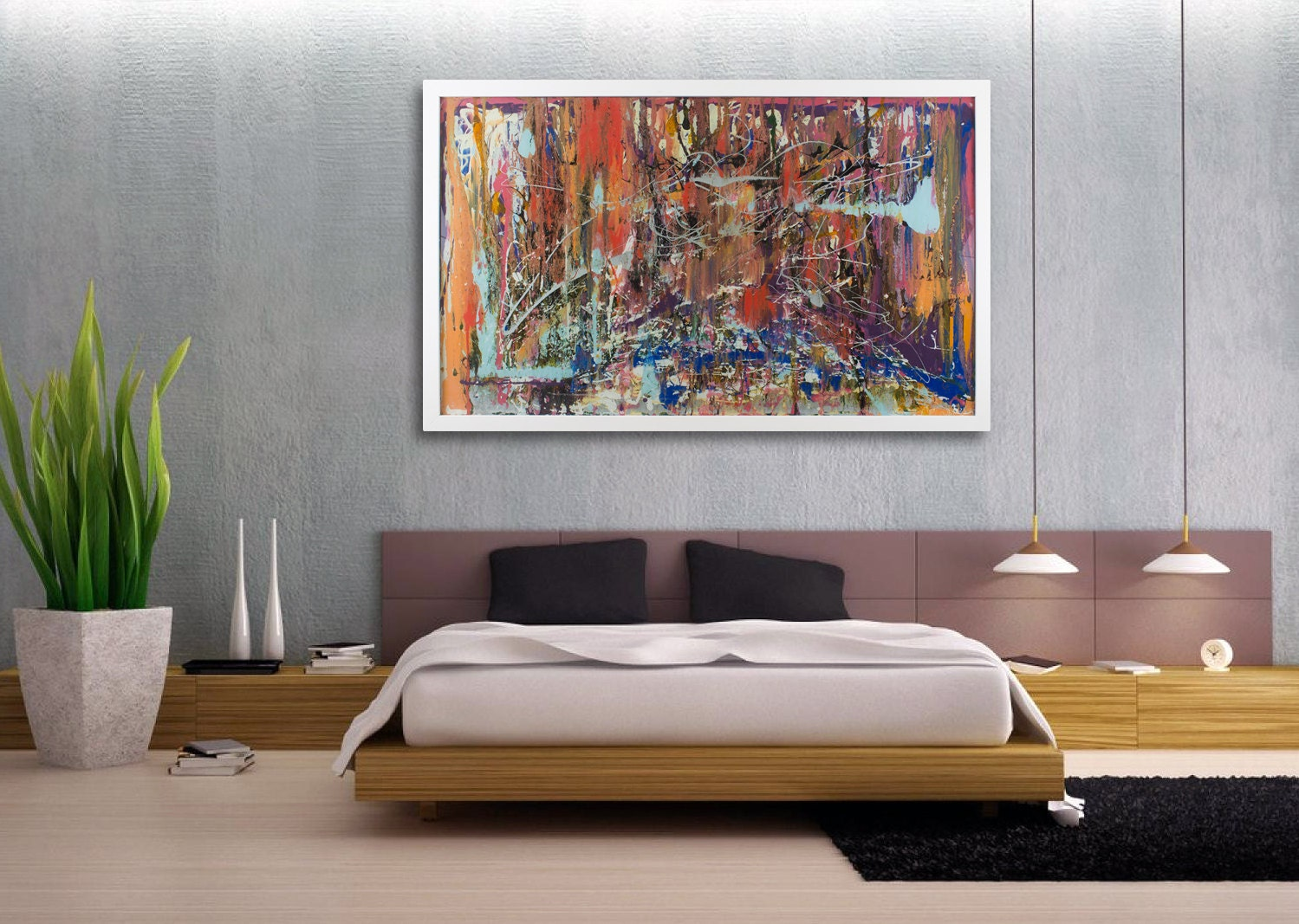 Large abstract art extra large art wall art modern glass for Large glass wall