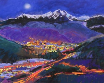 Durango's Jewels - signed giclee print of a mountain valley town at dusk. image is 9 x 12""