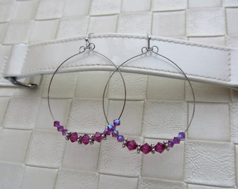 Swarovski hoop earrings, fuchsia, pink
