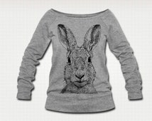 Hare Rabbit Bunny Art Original Line Drawing Springtime Womens Ethically Produced Boatneck Off The Shoulder Sweatshirt Sweater Jumper. Grey.