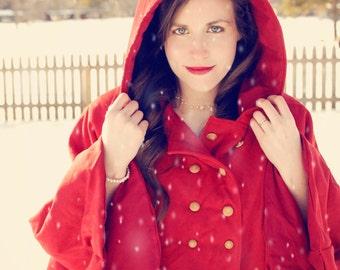 Red Cape with Hood and Pockets