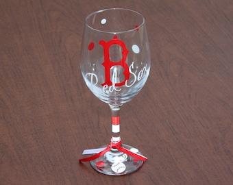 Boston Red Sox Wine Glass