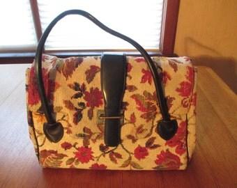 Vintage Floral Tapestry Handbag, 1950's