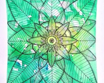 Garden Mandala - Original watercolor & ink drawing
