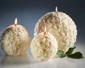White candles -  wedding candles - wedding centerpieces - home decor