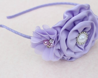 lavender headband, lavender flower girl headband, metal girls headband, toddler headband, hard headband, lavender wedding headband