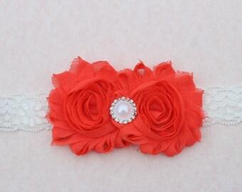 Bright coral headband, flower girl headband, coral headband, elastic headband, lace baby headband bright coral wedding headband