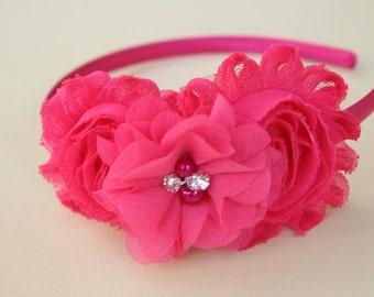 Hot pink headband, hot pink flower girl headbands, toddler headbands bright pink wedding headbands hot pink flowers kids hair accessories